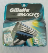 Men's Gillettee Mach3 Razor Blade Cartridge Refills 5 Count Pack FACTORY... - $10.39