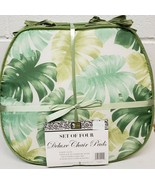 "Set of 4 CHAIR PADS CUSHIONS w/green strings,15x15"", LARGE GREEN PALM LE... - $21.77"