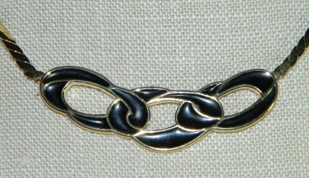 Primary image for VTG TRIFARI Gold Tone Black Enamel 1970-80's Choker Necklace Interlink Chains