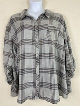 NWT Catherines Womens Plus Size 4X Gray Plaid Button Up Pocket Shirt 3/4... - $32.40