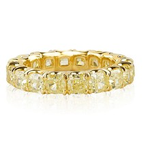 5 Carat Cushion Cut Yellow Diamond Eternity Wedding Band 18k Yellow Gold - £6,833.20 GBP