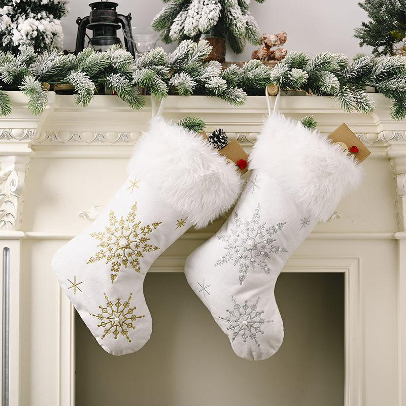 Primary image for Elegant Flannel Pearl Snowflake Christmas Stocking