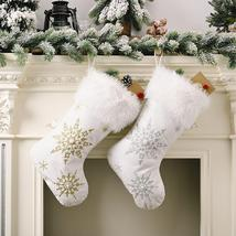 Elegant Flannel Pearl Snowflake Christmas Stocking - $14.99+