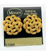 Vintage Signed Monet Gold Tone Textured Open Weave Pierced Button Earrings - $15.84