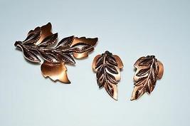 VTG Matisse RENOIR Copper LAUREL Brown Leaf Clip Earrings Brooch Set - $99.00