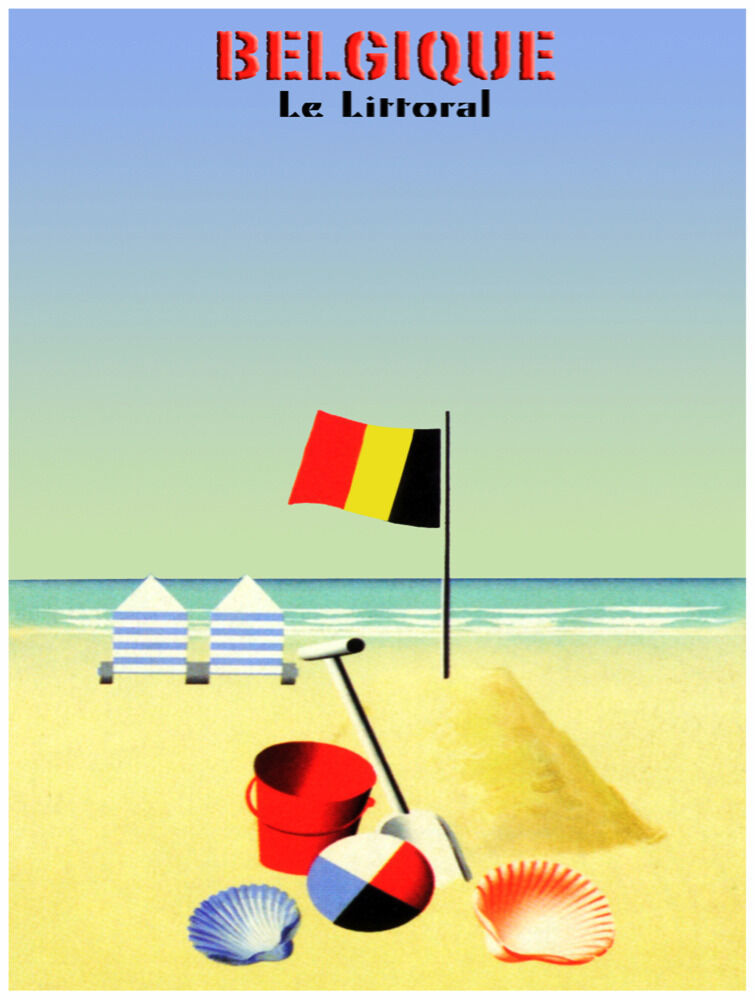 7707.Belgique.le littoral.beach with beach chairs.toys.POSTER.art wall decor