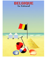 7707.Belgique.le littoral.beach with beach chairs.toys.POSTER.art wall d... - $10.89+