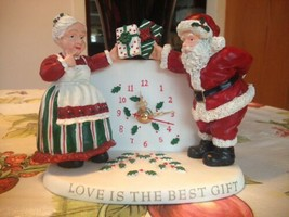 Santa & Mrs Claus w Presents Love Is The Best Gift Christmas Clock Very ... - $34.99