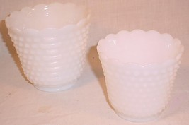 "VINTAGE 5"" & 6"" FIRE KING MILK GLASS HOBNAIL PLANTERS VASES JARDINIERE - $25.73"