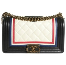 AUTHENTIC CHANEL LIMITED EDITION Lambskin Medium Crest Embellished Boy Flap Bag