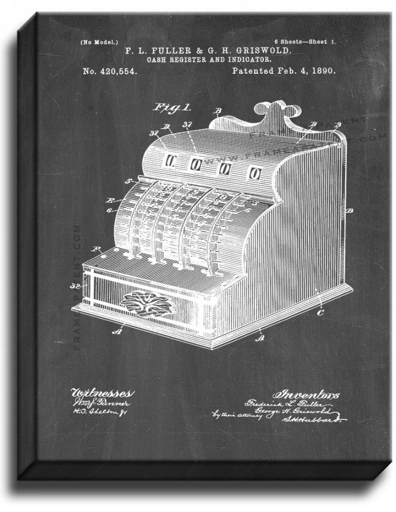Primary image for Cash Register Patent Print Chalkboard on Canvas