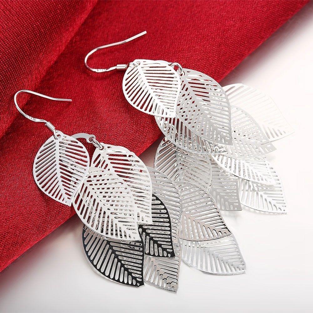 Fashion Jewelry Gold/Silver Women Drop Earrings Leaves Slice Hook Earring