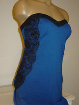 Romeo & Juliet Couture blue black lace sides wiggle pencil dress-L-NWT-$185 - $70.13