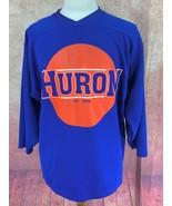 Huron Hockey Jersey Easton Canada Made  Blue Polyester Orange Silkscreen... - $20.58