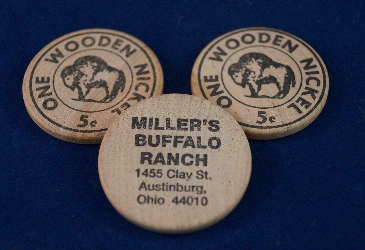 Primary image for Vintage Lot of 3 Wooden Nickel Miller's Buffalo Ranch Advertising