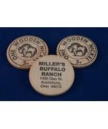 Vintage Lot of 3 Wooden Nickel Miller's Buffalo Ranch Advertising - $9.89