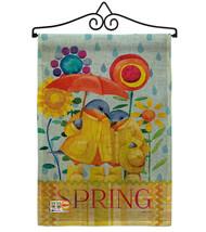 Rainy Day Bluebirds Burlap - Impressions Decorative Metal Wall Hanger Ga... - $33.97