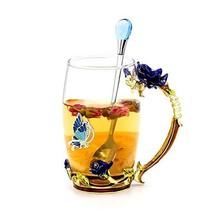 Daycindy Handmade Enamel Rose Tea Cup with Spoon Set 13oz, Blue - $26.19