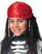 Franco Bambini lungo Nero Buccaneer Costume Parrucca Pirata W/Sciarpa & Perline - $19.24