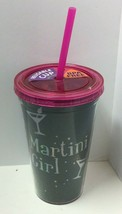 "Novelty Reusable BPA Free 16oz ""Martini Girl"" Printed Cup W/Straw, Free ... - $12.11"