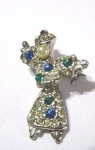 VINTAGE SMALL SCATTER PIN FEMALE ORIENTAL DANCER FIGURAL ARTICULATED RHI... - $22.00