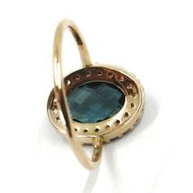 SOLID 18K ROSE GOLD FLOWER RING, BLUE CUSHION OVAL CRYSTAL CUBIC ZIRCONIA FRAME image 3
