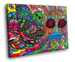 Psychedelic Shrooms Brain Hipster Colorful Art Decor Framed Canvas Art P... - $19.95