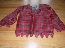 Size Medium 8-10 Werewolf Red Plaid Costume Shirt Top Gray Faux Fur New - $16.00