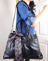 COACH Ashley Rich Black Pebbled Leather Satchel Shoulder Bag Tote Purse ... - $89.09