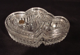Cristal d' Arques France Crystal Double Hearts 6 1/8 Inch Trinket box w Lid - $24.99
