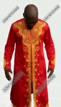 Odeneho Wear Men's Polished Cotton/Gold Embroidery.African Clothing.Top & Bottom - $148.50+