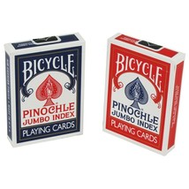 2 Decks Bicycle Rider Back Pinochle Jumbo Index Playing Cards Red & Blue New Box - $8.59