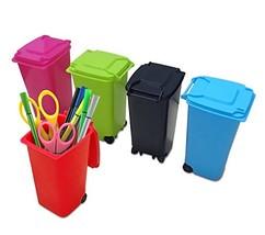 Premy Mini Wheelie Trash Can Storage Bin Desktop Organizer Pen/Pencil Cu... - $10.82