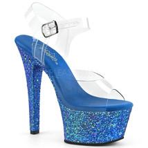 "PLEASER Sexy 6"" Heel Comfortable Blue Holographic Glitter Platform Women... - $52.95"