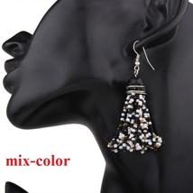 6color, bead tassel earring , boho bead earring,Rhinestone Fringe Earrin... - $5.99
