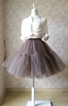 Lady MESH TULLE SKIRT Knee Length Layer Tulle Skirt Princess Skirt Crinolines  image 2