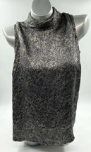 Kate Hill Silk Top Plus Size 16W Gray Floral High Neck Sleeveless Blouse... - $24.75