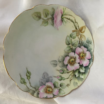 Vintage J & C Pink Floral Plate w/ Green Background & Gold Trim - $18.39