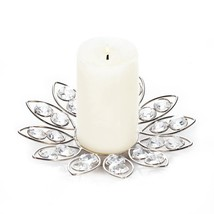 Round Crystal Candle Holders, Small Clear Glass Candle Holder With Crystals - £14.10 GBP