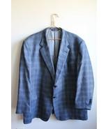 Coppley Black Label 53 Blue Gray Plaid Silk Wool Two-Button Blazer - $37.05