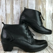 Clarks 9.5W Casual/Dress Ankle Boot Black Leather Lace Up Block Heel Womens - $45.99