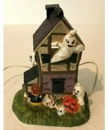 Halloween Vintage Ceramic Haunted House 3 Bulbs Light Up Decor Ghosts Pu... - $99.99