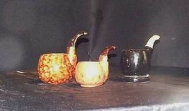 Ceramic Pottery Pipe shaped Pot or Ashtray AA18 - 1021 Set of  3 Vintage image 3