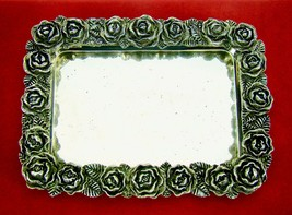 Vintage Silverplate Figural Repousse Roses Tray Dish Coin Receiver  - $37.05
