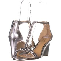 Jewel Badgley Mischka Meryl Wedge Sandals 646, Silver, 10 US - $43.19