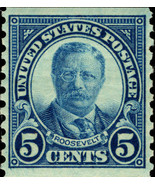 1924 5c Theodore Roosevelt, Dark Blue, Coil Scott 602 Mint F/VF NH - $7.50