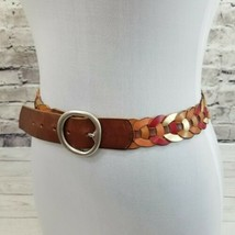 """FOSSIL Size S (30-34) Brown Red Gold Daisy Chain Leather 1.5"""" Wide BOHO ... - £13.04 GBP"""