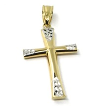 18K YELLOW WHITE GOLD CROSS, ROUNDED TUBE SMOOTH, HAMMERED, 2.7cm 1.06 inches  image 2