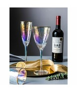 LOULONG® Colorful Ion Gold Edge Crystal Goblet Martini Wine Glass Romantic - $32.74