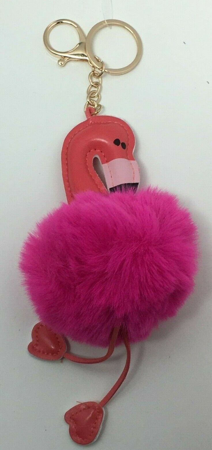 Royal Deluxe Accessories Hot Pink Pom Pom Flamingo Keychain, Free Shipping